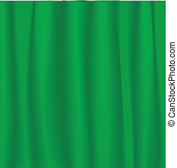 Green curtain - Vector illustration of a green stage curtain