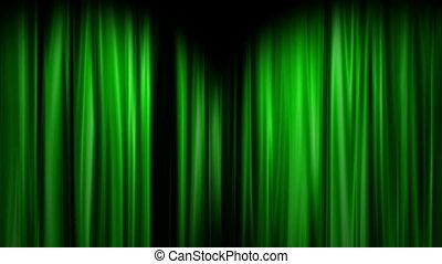 Green Curtains open