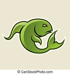 Green Curvy Fish or Pisces Icon Vector Illustration - Vector...