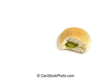 Green custard filling bun on white background