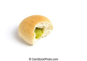 Green custard filling bun on white background