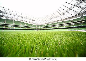 green-cut, 풀, 에서, 큰, 경기장, 에, 여름의 날, 큰, 축구 들판, 얕은, 깊이, 의, 초점