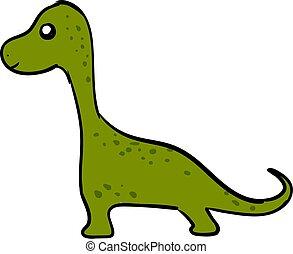 Green cute dinosaur, illustration, vector on white background.