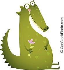 Green Cute Kids Crocodile Sitting with Flower