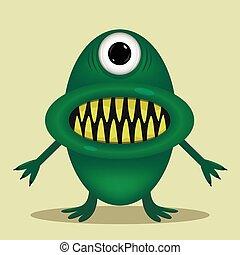 Green cute monster