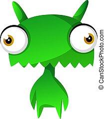 Green cute monster illustration vector on white background Print