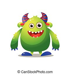 Green cute monster with violet horn and big hands