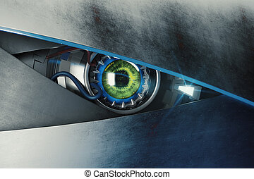 Green cyber eye with mean look. Technology and electronics concept. 3D Rendering