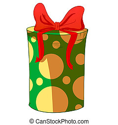 Green cylinder gift box with red bow.