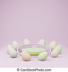 Green cylinder podium with basket and easter eggs copy space