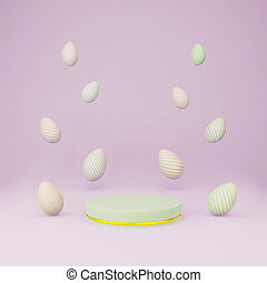 Green cylinder podium with easter eggs float copy space