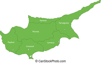 Green Cyprus map - Map of administrative divisions of Cyprus