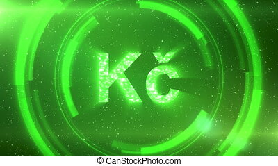 Green Czech koruna currency symbol centered on a starscape background with HUD elements. Seamlessly loopable animation.