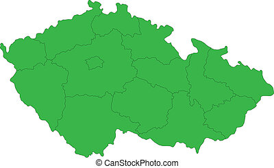 Green Czech Republic map - Regions of the Czech Republic