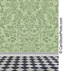 Green  Damask Wall and Marble Floor