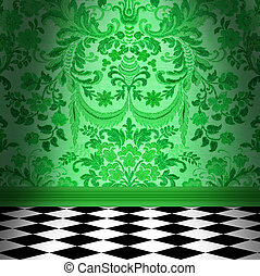 Green Damask Wallpaper With Black & White Checkerboard Tile Floor
