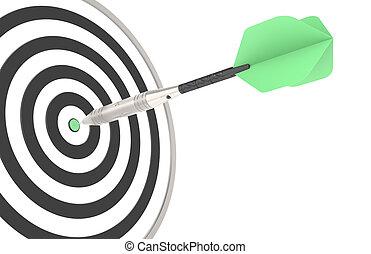 Green dart hitting the target
