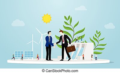 green deal for earth environment between two businessman or government with some power green energy as background