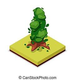 Green decorative tree isometric 3D icon