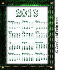 Green denim calendar 2013