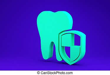 Green Dental protection icon isolated on blue background. Tooth on shield logo. Minimalism concept. 3d illustration 3D render