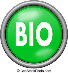 Green design bio in round 3D button