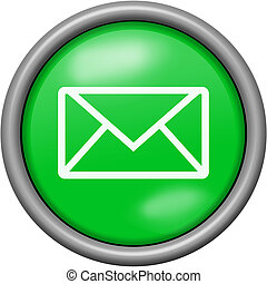 Green design email in round 3D button