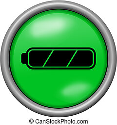 Green design full battery in round 3D button