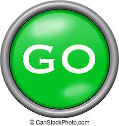 Green design go in round 3D button