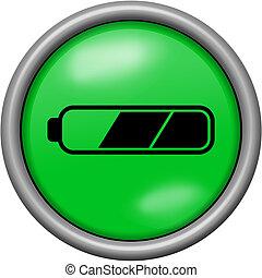 Green design half battery in round 3D button