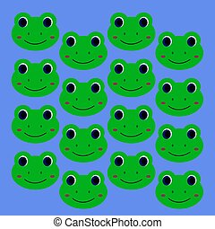 Green design kids smiling frogs