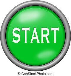 Green design start in round 3D button