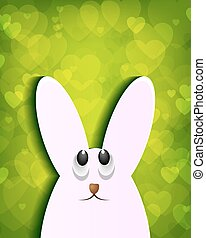 green design with a silhouette of the Easter Bunny