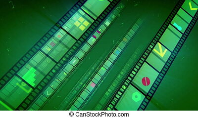 """Green Diagonal Film Tape Rolling "" - ""A wonderful 3d..."