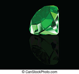 Green diamond on black background. Vector