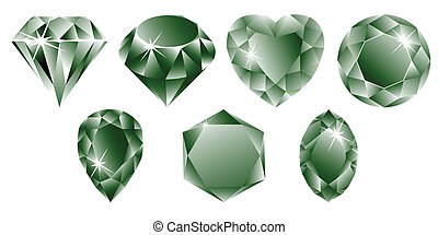 green diamonds collection against white background, abstract...