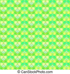 Green diamonds from lime stars on lemon hearts in a bright intersection.
