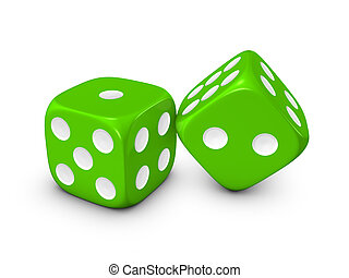 green dice on white background