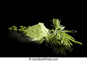 Green Dietary supplements. - Healthy green supplements. ...