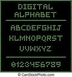 Green digital alphabet