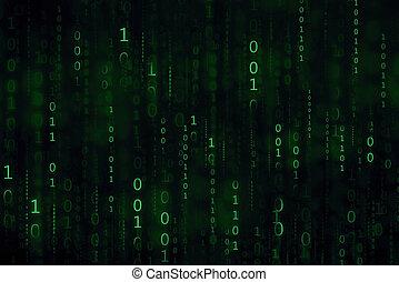 green digital binary code matrix background