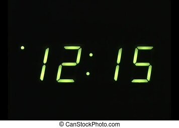 Green Digital Clock Display Time Lapse - Closeup of digital...