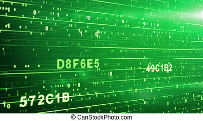green digital code animation. Computer generated abstract motion background