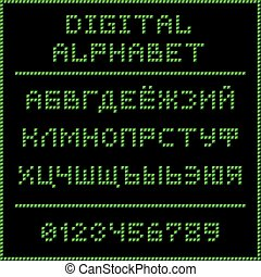 Green digital cyrillic alphabet
