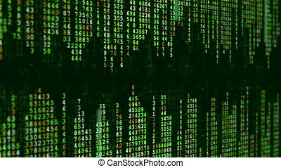 Green Digital Data Matrix Animation. - High-tech background....