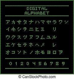 Green digital katakana alphabet