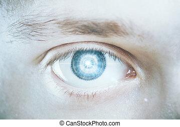 Green digital male eye