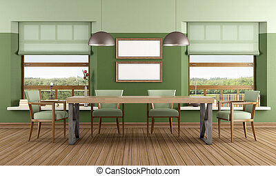 Green Dining room - green dining room room of a lake house -...
