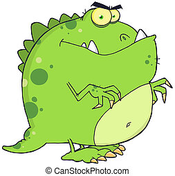 Green Dinosaur Cartoon Character - Angry Green Dinosaur...