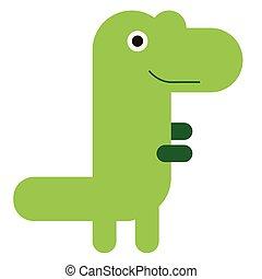 Green dinosaur flat illustration on white
